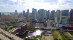 Aerial video FPL Power station Downtown Miami Stock Footage