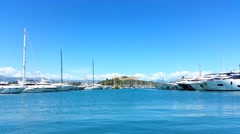 The port of Antibes and the fortress Stock Footage