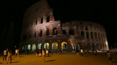 Rome coliseum by night Stock Footage