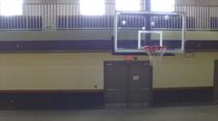 Indoor Aerial of Indoor Basketball Court Stock Footage