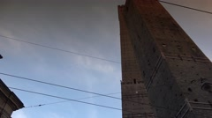 Famous Asinelli and Garisenda, the two towers in Bologna, ULTRA HD 4k, real time Stock Footage