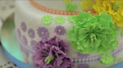Wedding cake with colorful flowers Stock Footage