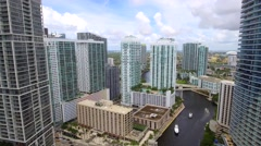 Amazing aerial video of Brickell Stock Footage