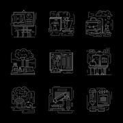 Set of detailed chemistry white line vector icons Stock Illustration