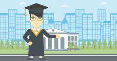 Graduate giving thumb up vector illustration - stock illustration