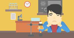 Student working at laboratory class - stock illustration