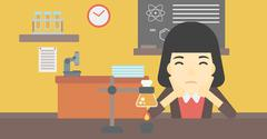 Female student working at laboratory class - stock illustration