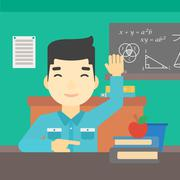 Student raising hand in class for an answer Stock Illustration