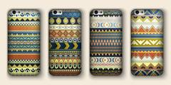 A set of four covers for your mobile phone. Vector decorative ethnic backgrou Stock Illustration