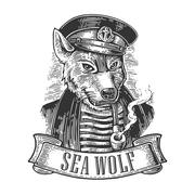 Sea wolf with pipe and ribbon - stock illustration