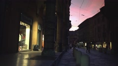 Bologna, sunset at square Ravegnana, near the two towers, ULTRA HD 4k, real time Stock Footage
