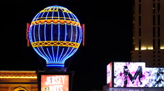 Zoom Out - Paris Balloon, Arch and Shops on the Las Vegas Strip Stock Footage