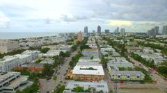 Aerial flyover Miami Beach Florida Stock Footage