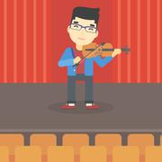 Man playing violin vector illustration - stock illustration