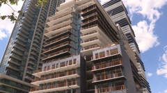 Highrise condo buildings under construction in Toronto real estate market Stock Footage
