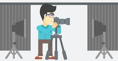 Photographer working with camera on tripod - stock illustration