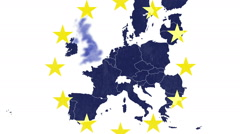 Brexit - EU textured map, white background and 12 symbolic stars, UK volatilizes Stock Footage