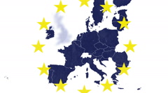 Brexit - EU textured map on white background with 12 stars - UK being erased Stock Footage