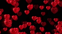 Small brilliant pulsatory red hearts backround - stock footage