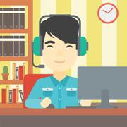 Man playing computer game vector illustration Stock Illustration