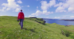 A hiker walking through a sunny green meadow Stock Footage