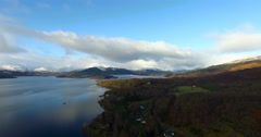 Aerial: Loch Tay in the Scottish Highlands during a clear winters day with snow  Stock Footage
