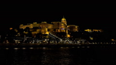 Buda Castle. Royal Palace in Budapest. Night. Stock Footage