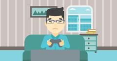 Man playing video game vector illustration Piirros