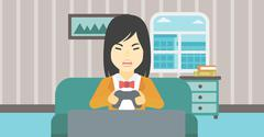 Woman playing video game vector illustration Piirros