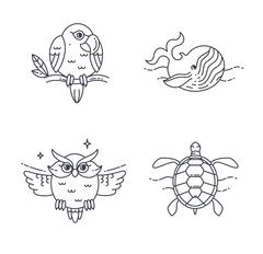 Vector Parrot, Owl, Wheel and Turtle - stock illustration