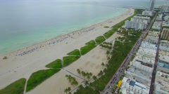 Aerial footage Miami Beach 5th Street Stock Footage