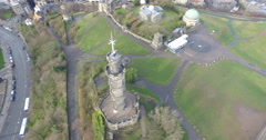 Aerial: Nelson's monument on Calton Hill in Edinburgh, Scotland Stock Footage
