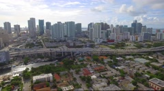 Downtown Miami I95 over the Miami River Stock Footage