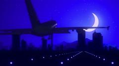 Auckland New Zealand Airplane Landing Skyline Blue Moonlight Background Stock Footage