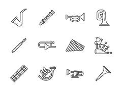 Wind musical instruments black line vector icons - stock illustration