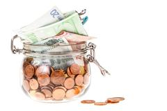 jar with euros isolated - stock photo