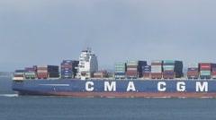 San Francisco, California, USA - March 2016: Cargo ship in San Francisco Bay Stock Footage