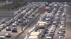 Massive Toronto traffic jam on 401 highway in rush hour Stock Footage