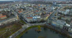 Aerial: Wroclaw in autumn, Poland Stock Footage
