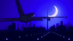 Dublin Ireland Airplane Landing Skyline Blue Moonlight Background Stock Footage