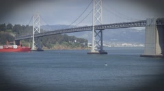 Red cargo ship in the waters of San Francisco Bay Stock Footage