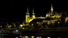 Budapest. Danube. Night. Architecture, old houses, streets and neighborhoods. Stock Footage