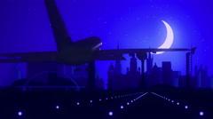 Glasgow Scotland Airplane Landing Skyline Blue Moonlight Background Stock Footage