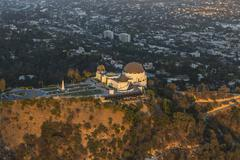 Los Angeles Griffith Park Observatory Afternoon Aerial Stock Photos