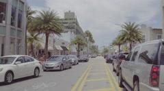 Miami Beach Collins Avenue D-log flat profile Stock Footage