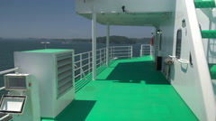 Ferry Boat Deck at Sea. Stock Footage