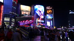 Crowds Outside of Planet Hollywood Casino at Night Stock Footage
