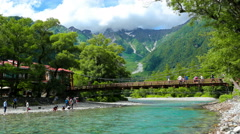 Zoom Out Time-Lapse Japanese Alps Kamikochi Mountain Above Kappa Bridge 4k 30fps Stock Footage