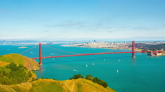 Stationary Time-Lapse Distant Golden Gate Bridge, City San Francisco from Marin Stock Footage