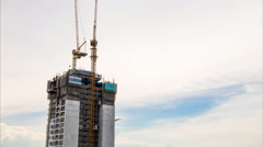 Construction at sunset, time lapse Stock Footage